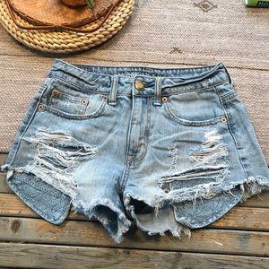 American Eagle Hi Rise Festival Distressed shorts